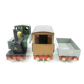 ライブスチーム MAMOD STEAM RAILWAY CO. 蒸気機関車 レール台付き 画像