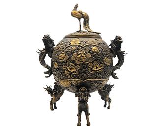 高岡銅器 村田宏 蝋型鋳銅 香炉 画像