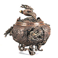 高岡銅器 松永武雄 青銅古代龍巻香炉 画像